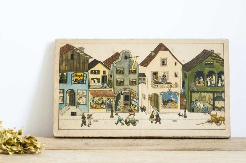 Illustration rue village allemand chambre enfant TRENDY LITTLE 2