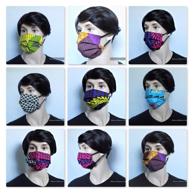 masque de protection visage original handmade in france avec tissu coton wax