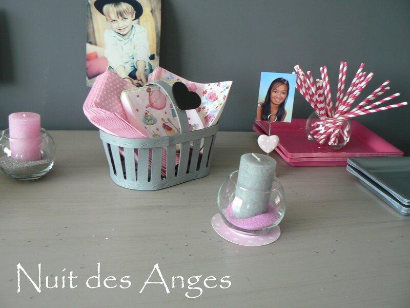 Nuit des anges décoratrice décoration de table baptême rose et gris 025