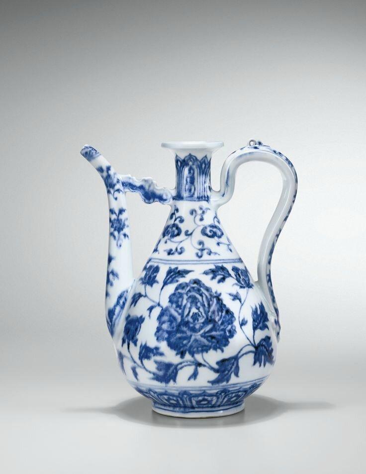 Aiguière en porcelaine bleu blanc, zhihu Dynastie Ming, époque Yongle