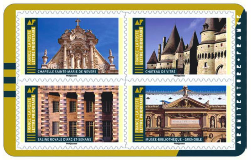carnet_timbre_2019_histoire_art architectural_France_Chapelle Sainte Marie de Nevers_Château de Vitre_Saline d'Arc-et-Senans_Grenoble