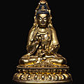 A large gilt-bronze figure of avalokiteshvara, 17th century