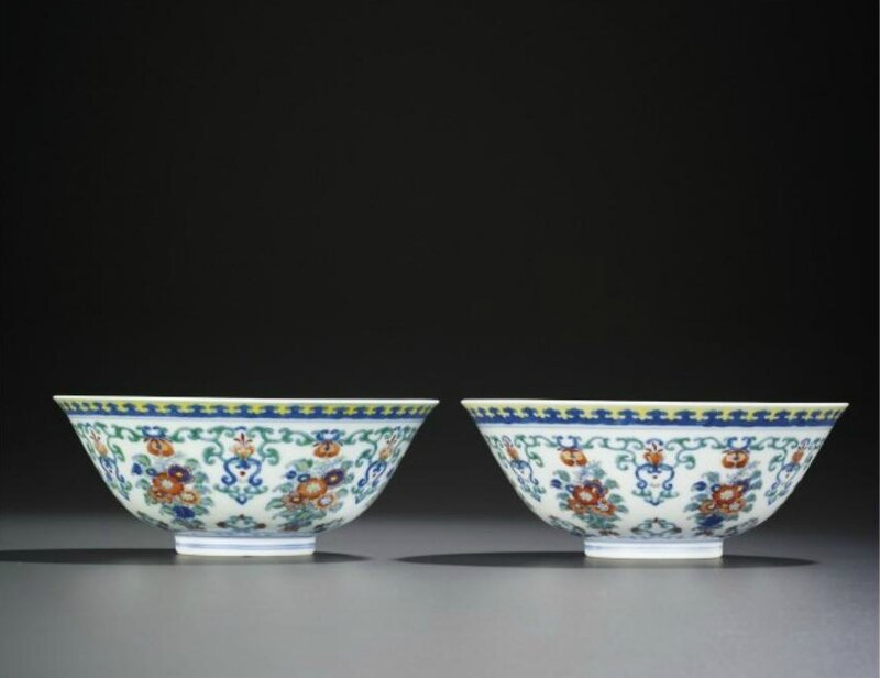A fine pair of doucai 'floral bouquet' bowls, Yongzheng six-character marks within double circles and of the period(1723-1735)