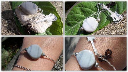 Bracelet palet gris argent