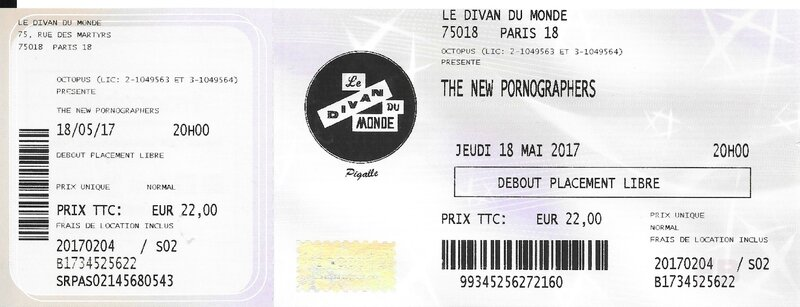 2017 05 18 The New Pornographers Divan du Monde Billet