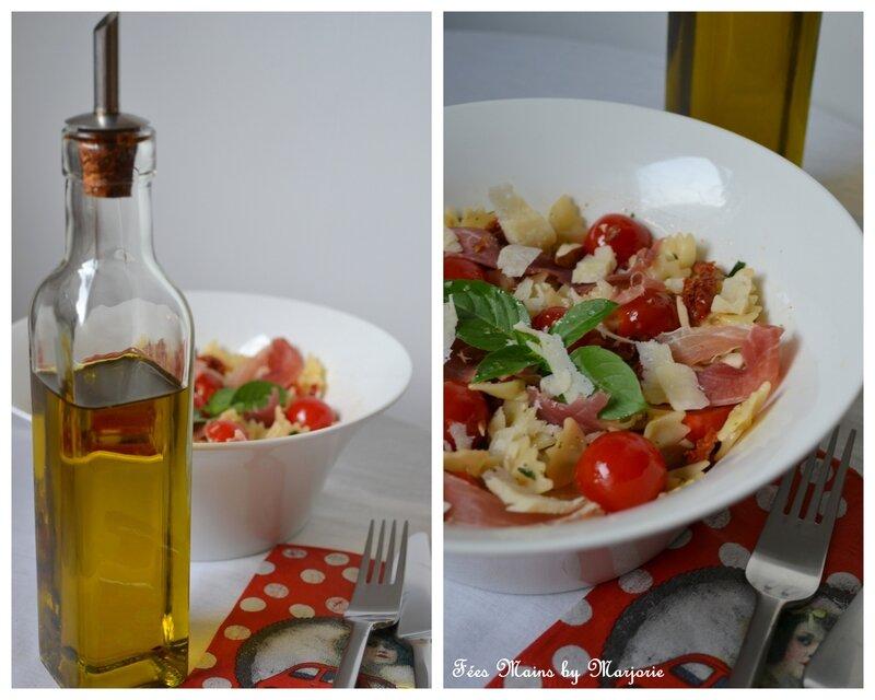 Salade de pâtes jambon cru tomates et parmesan1