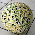 Boule 25cm camaïeu vert & jaune