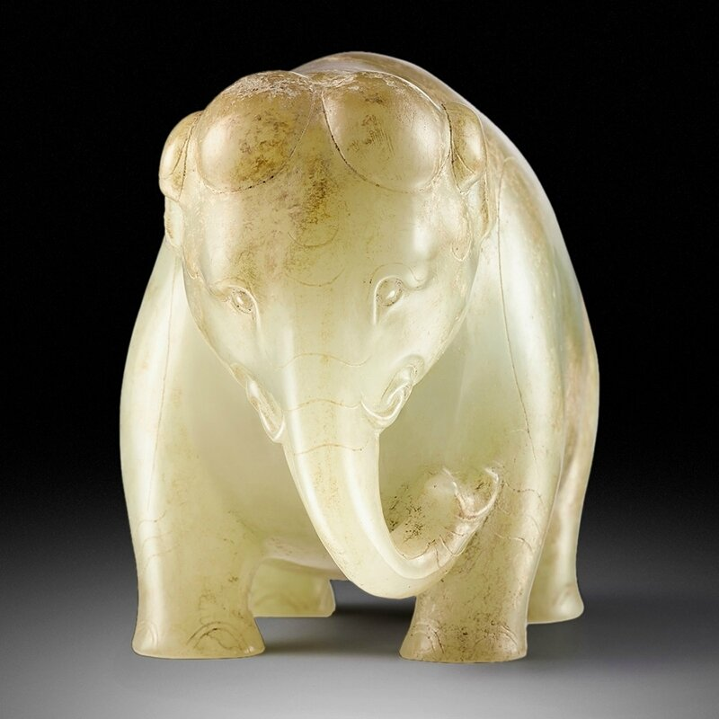 An Outstanding And Extremely Rare Celadon Jade Figure Of An Elephant