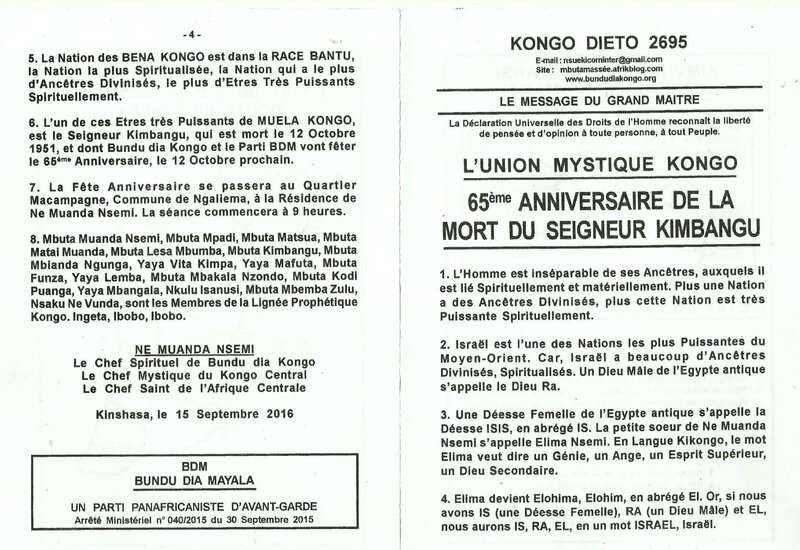 65ème ANNIVERSAIRE DE LA MORT DU SEIGNEUR KIMBANGU a