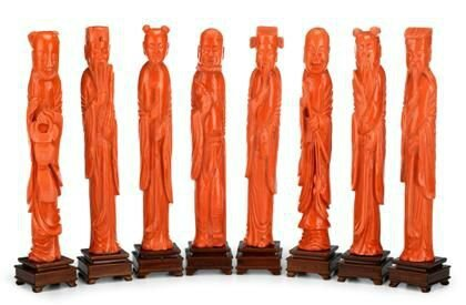 Rare set of eight Chinese simulated coral glass immortal figures, 19th century. Courtesy Freeman's Auctioneers & Appraisers