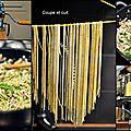 Spaghetti maison aux herbes, sauce citronnée aux champignons
