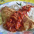 Poisson pané, riz et (1er essais de sauce tomate au poivron
