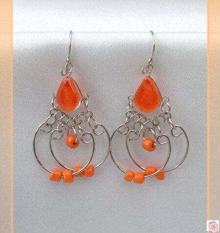 Boucles D'Oreilles Nuria Verre Murano Orange Métal Argenté Artisanat du Pérou