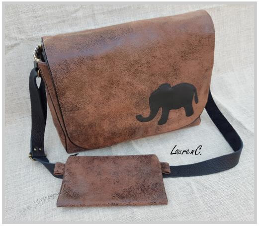 BESACE SIMILI SUEDINE MARRON VIEILLI ELEPHANT ENSEMBLE
