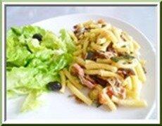 macaronis aux lardons et légumes