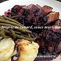 Magret de canard, sauce aux myrtilles