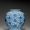 A large blue and white lobed jar, Jiajing six-character mark in underglaze blue within a double circle and of the period (1522-1566)