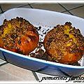 Pomarines farcies sous crumble de pain d'epices ( dessert )