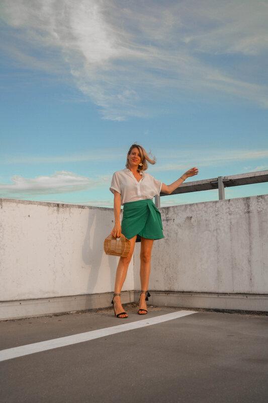 Mini jupe portefeuille vert d'eau - styliz (6)