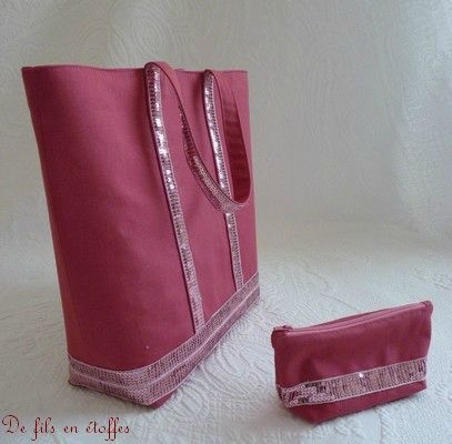 Sac + trousse paillettés rose