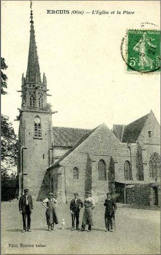 CPA Ercuis église et la place
