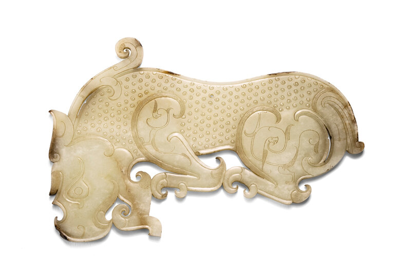 An Exceptional and Large Yellow Jade Animal-shaped Plague, Eastern Zhou dynasty (770-256 BC)