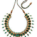 An emerald and diamond-set enamelled gold necklace, india, late 19th-early 20th century