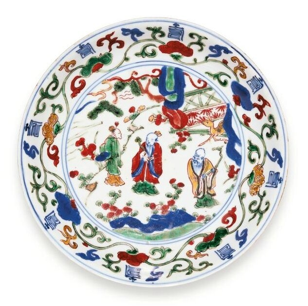 A wucai dish, Wanli mark and period (1573-1620)