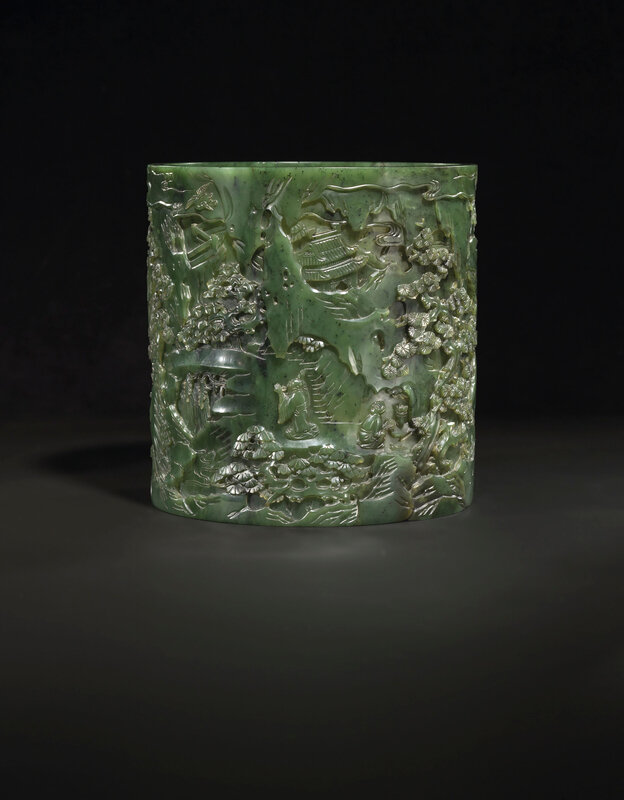 2019_CKS_17114_0131_002(a_finely_carved_spinach-green_jade_brush_pot_bitong_qianlong_period)