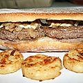 Hamburger : sandwich baguette à la plancha