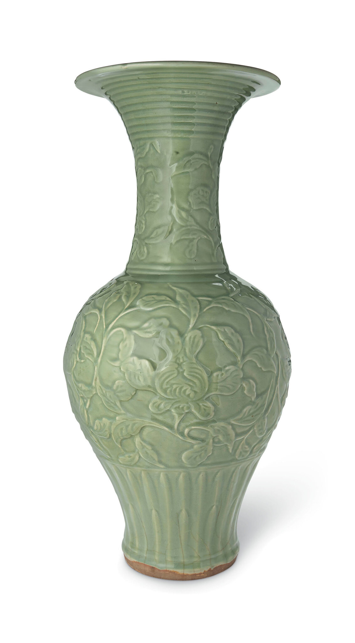 A magnificient and very rare large Longquan celadon 'phoenix tail' vase, Yuan dynasty (1279-1368)