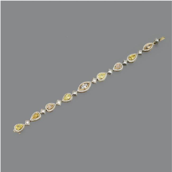 Michael Beaudry Colored Diamond And Diamond Bracelet And
