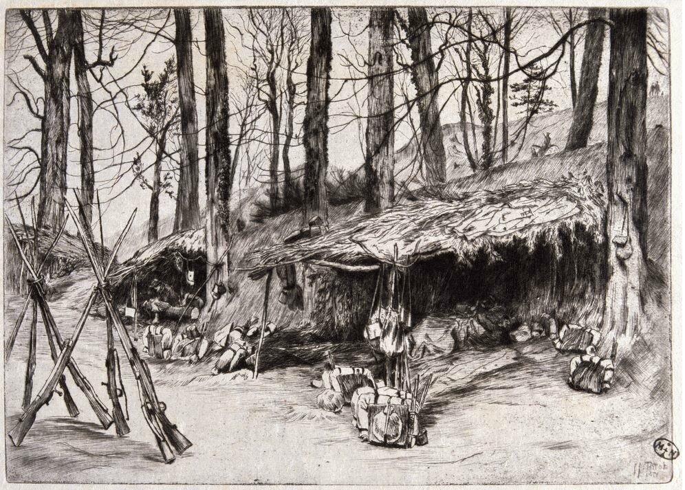 Tissot (James) Campement du parc d'Issy (1871), Souvenir du siège de Paris