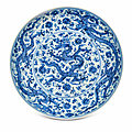 A Rare Blue And White 'Dragon' Dish, Zhengde Four-Character Mark In Underglaze Within A Double Circle Blue And Of The Period (1506-1521)