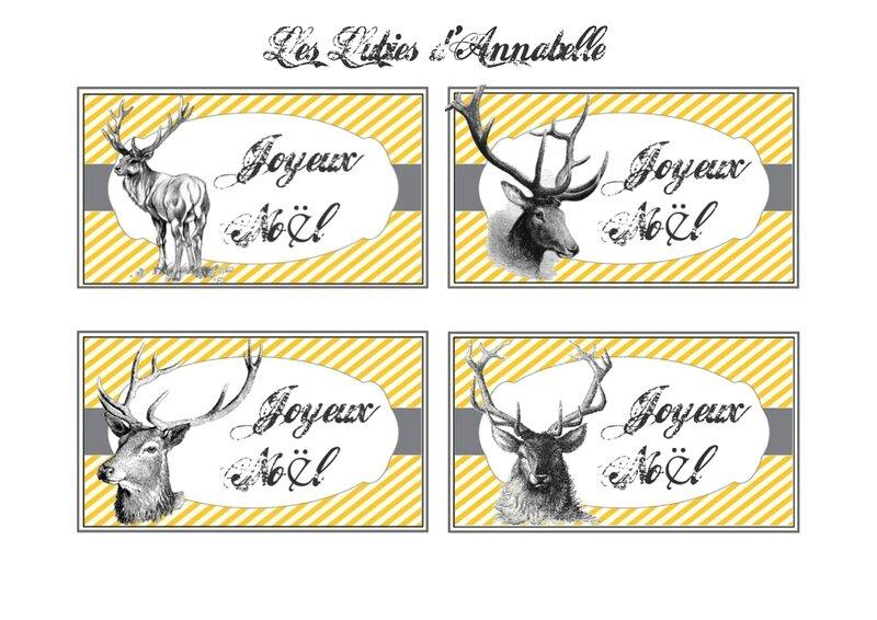carte étiquette Noël renne à imprimer gratuite