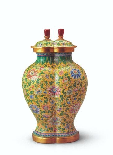 Painted enamel joined covered jars, mark and period of Qianlong