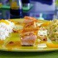 Révélation culinaire: rien ne vaut la création. saumon mi-cuit, poireaux curry-orange, sauce magique orangée