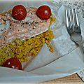 Papillotes de saumon au couscous épices douces