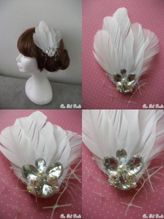 Accessoires de cheveux à plume et strass  le fascinator