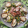 Salade de porc et ses croûtons au camembert 9 pp pour 1 pers