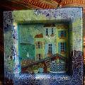 collage et peinture sur assiette de verre