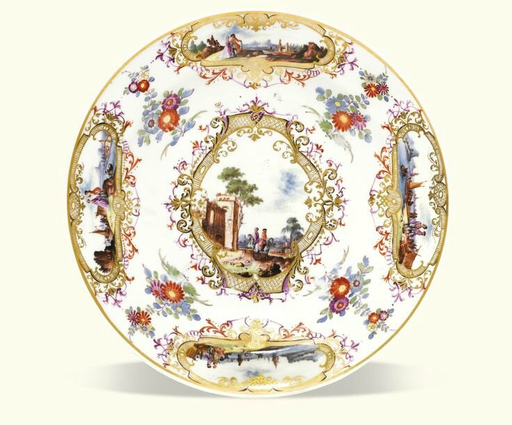 A Meissen Plate from the service presented to King Frederik V of Denmark, circa 1746-50