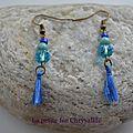 Boucles d'oreilles avec pompon et perles bleues(2)