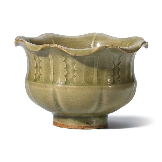 A Yaozhou celadon carved foliate-rimmed jar, Northern Song dynasty (960-1127)