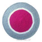 tapis-rond-crochet-rose-blanc-gris-clair
