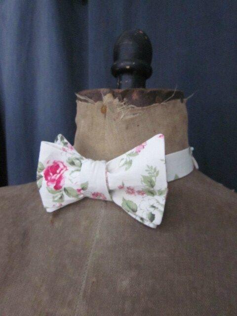 Véritable NOEUD PAPILLON en coton écru fleuri rose (1)