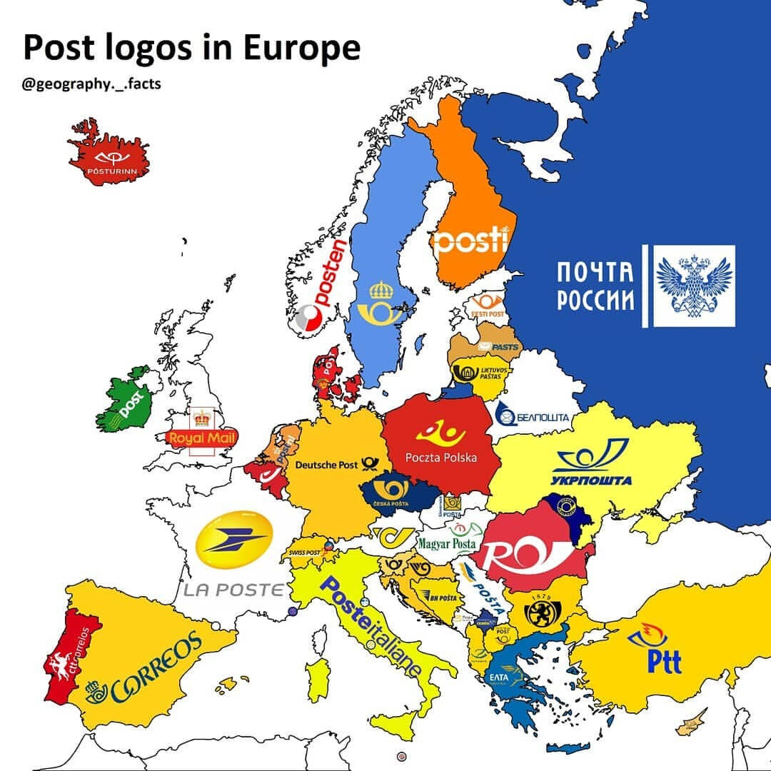 Post logos of European countries