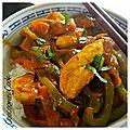 Wok de légumes et poulet au curry