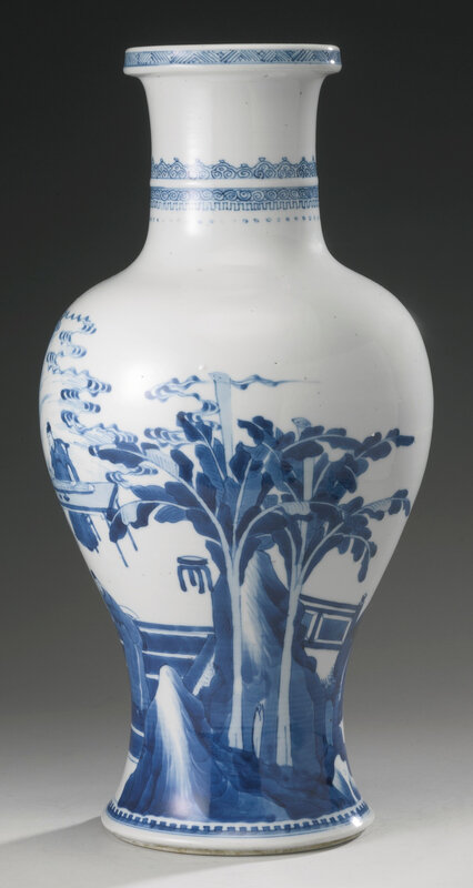 A blue and white 'Four accomplishments' baluster vase, Qing dynasty, Kangxi period (1662-1722)2