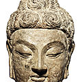 A very rare grey limestone head of buddha shakyamuni, tang dynasty, longmen caves, 7th century ad